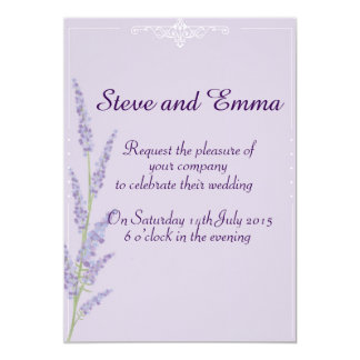 Purple, lavender wedding invitation. card