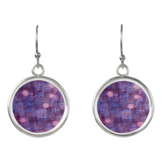 purple leaf print earrings