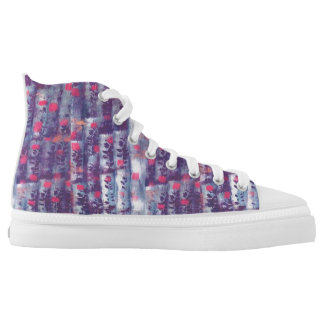 purple leaf print high tops
