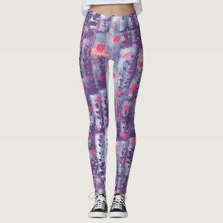 purple leaf print leggings