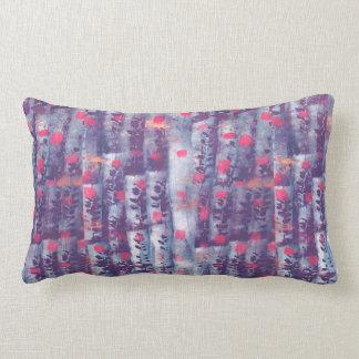Purple leaf print lumbar pillow