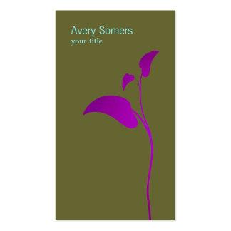 Purple Leaf Simple Olive Green Business Card