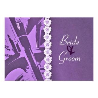Purple Leather & Daisies Biker Wedding Invitation