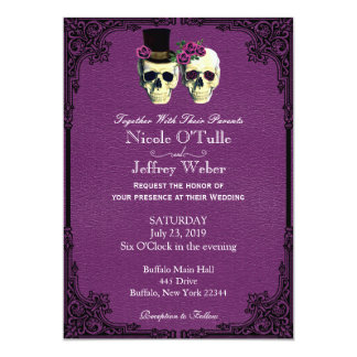 Purple Leather Goth Skull Wedding Invitation
