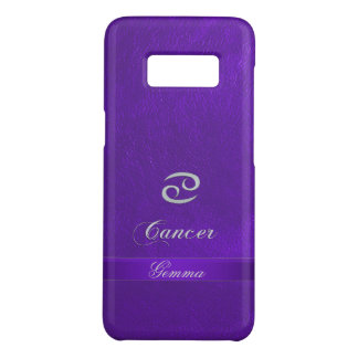 Purple Leather Zodiac Sign Cancer Case-Mate Samsung Galaxy S8 Case