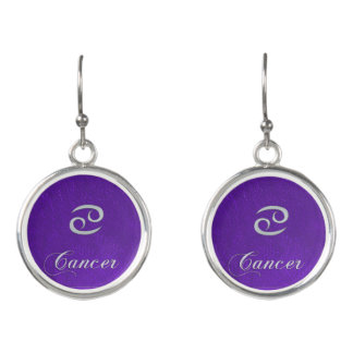 Purple Leather Zodiac Sign Cancer Earrings