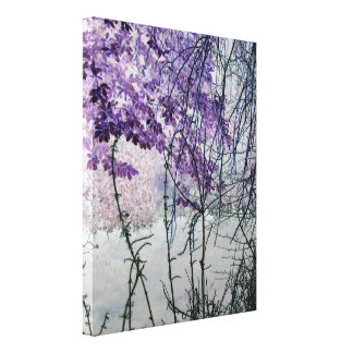Purple leaves, twigs and water canvas prints