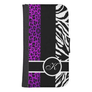 Purple Leopard and Zebra Animal Print Monogram