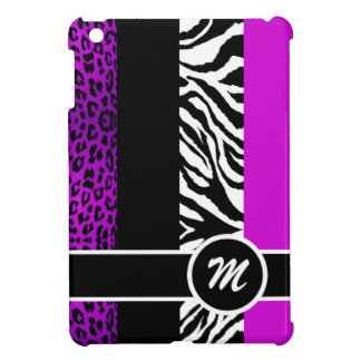 Purple Leopard and Zebra Monogram Animal Print iPad Mini Cover
