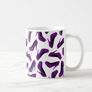 Purple Leopard Animal Print High Heel Shoes Print Coffee Mug