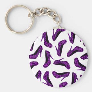 Purple Leopard Animal Print High Heel Shoes Print Key Chain
