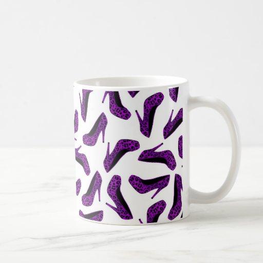 Purple Leopard Animal Print High Heel Shoes Print Mugs