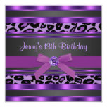 Purple Leopard Girls 13th Birthday Party 13 Cm X 13 Cm Square Invitation Card