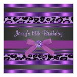 Purple Leopard Girls 13th Birthday Party Invitations