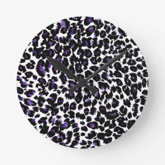 Purple Leopard Pattern Round Clock