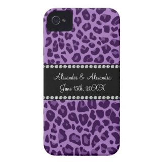 Purple leopard pattern wedding favors iPhone 4 Case-Mate cases