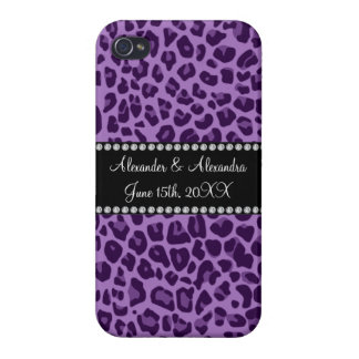 Purple leopard pattern wedding favors cases for iPhone 4