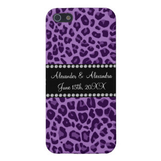 Purple leopard pattern wedding favors iPhone 5 covers