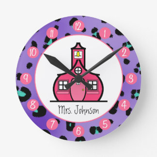 Purple Leopard Personalized Clock For Teachers