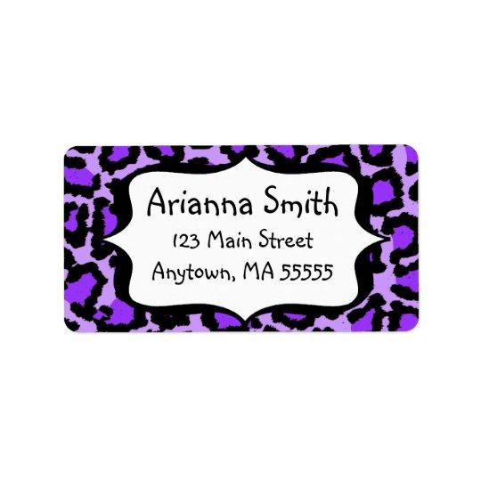 Purple Leopard Print Address Labels