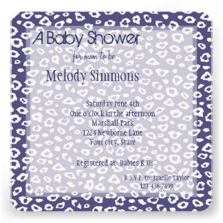 Purple Leopard Print Baby Shower Personalized Invite