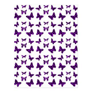 Purple Leopard Print Butterfly Pattern Postcard