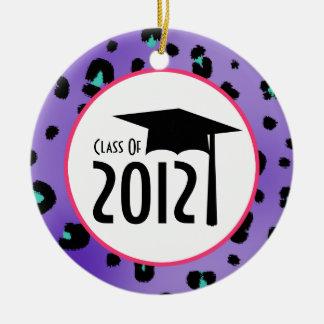 Purple Leopard Print Class Of 2012 Graduation Double-Sided Ceramic Round Christmas Ornament