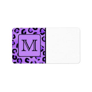 Purple Leopard Print Custom Monogram. Address Label