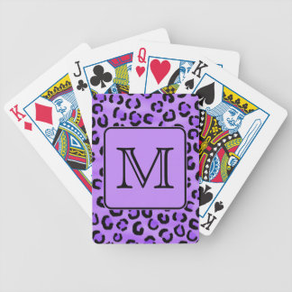 Purple Leopard Print Custom Monogram. Bicycle Playing Cards