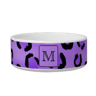 Purple Leopard Print Custom Monogram. Bowl