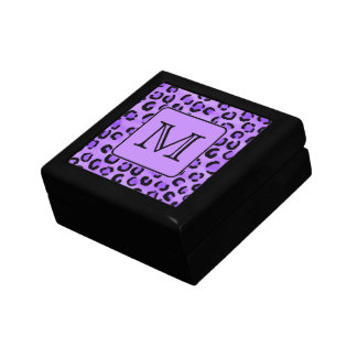 Purple Leopard Print Custom Monogram. Gift Box