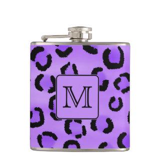 Purple Leopard Print Custom Monogram. Hip Flask