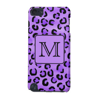 Purple Leopard Print Custom Monogram. iPod Touch (5th Generation) Cover