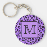 Purple Leopard Print Custom Monogram. Keychains