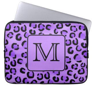 Purple Leopard Print Custom Monogram. Laptop Sleeve