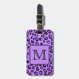 Purple Leopard Print Custom Monogram. Luggage Tag