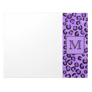 Purple Leopard Print Custom Monogram. Notepad