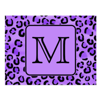 Purple Leopard Print Custom Monogram. Postcard