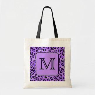 Purple Leopard Print Custom Monogram. Tote Bag