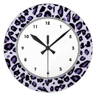 Purple leopard print large clock