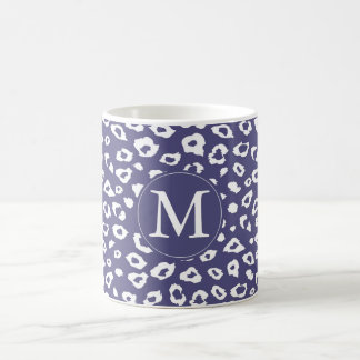 Purple Leopard Print Monogram Classic White Coffee Mug