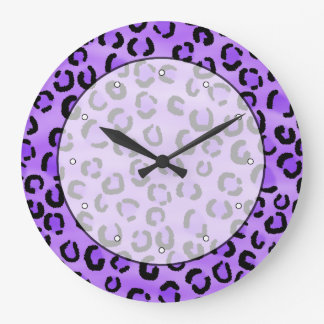 Purple Leopard Print Pattern. Large Clock