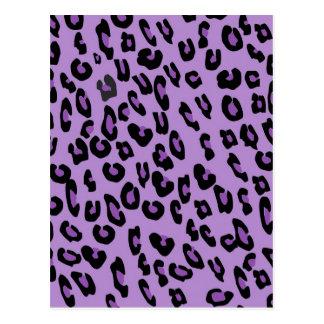 Purple leopard print pattern postcard