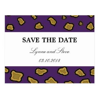 Purple Leopard Print Save the Date Postcard
