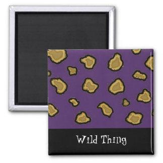 Purple Leopard Print Square Magnet