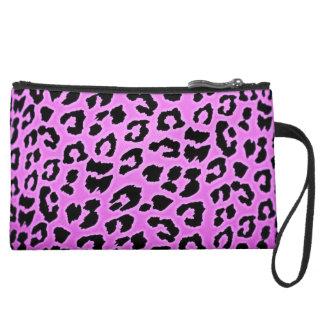 Purple Leopard Print Suede Wristlet