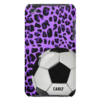 Purple Leopard Soccer Ball Custom iPod Touch Case