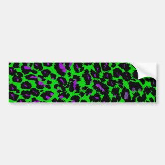 Purple Leopard Spots on Green Bumper Sticker