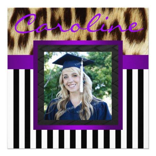 Purple Leopard Stripes Grad Photo Invite