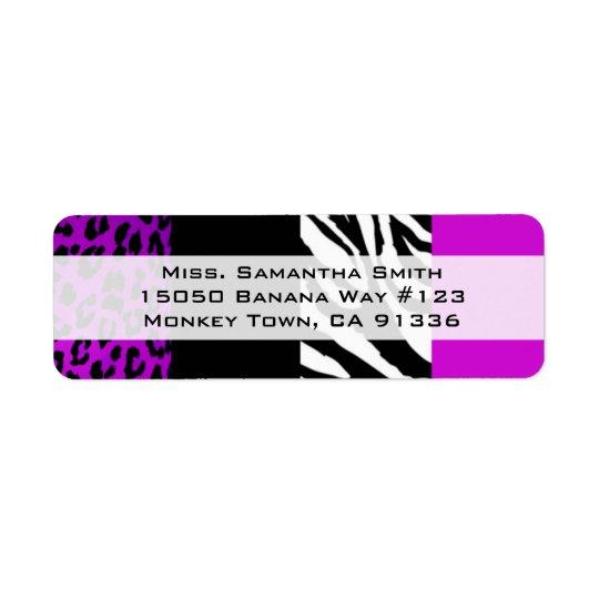 Purple Leopard & Zebra Animal Print Return Address